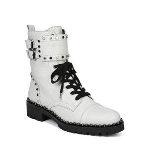 White Sam Edelman Jennifer leather combat boots